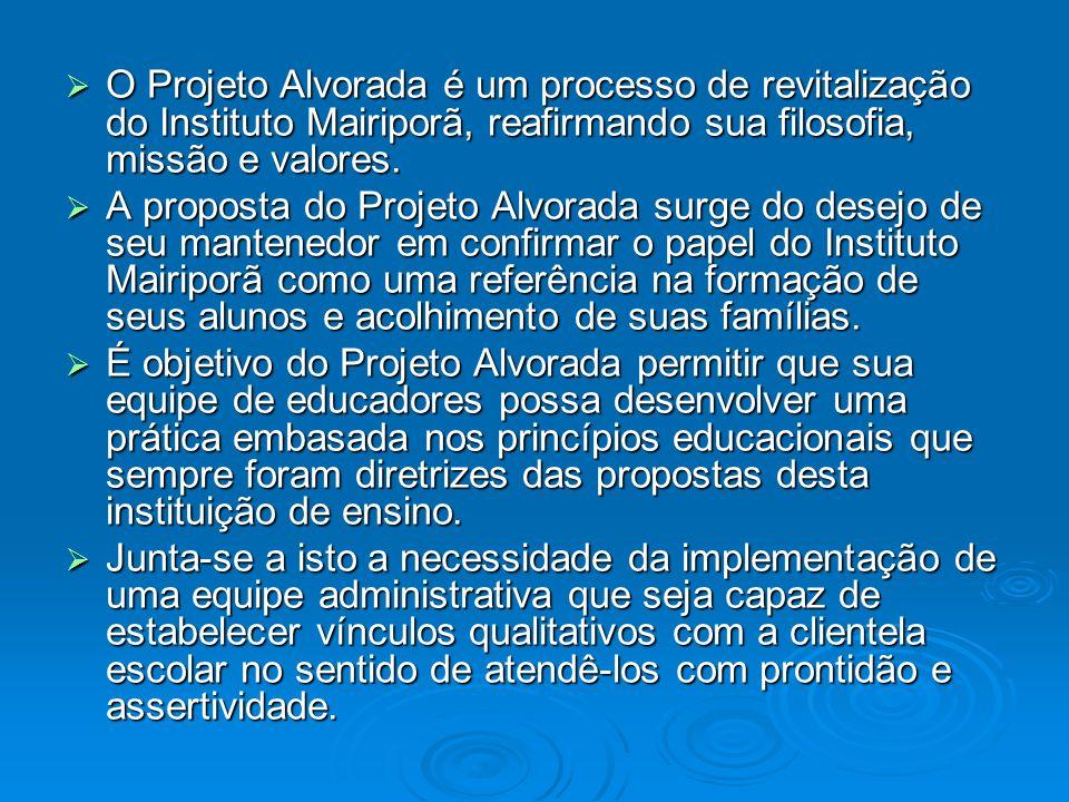 O Projeto Alvorada é um processo de revitalização do Instituto Mairiporã, reafirmando sua filosofia, missão e valores.