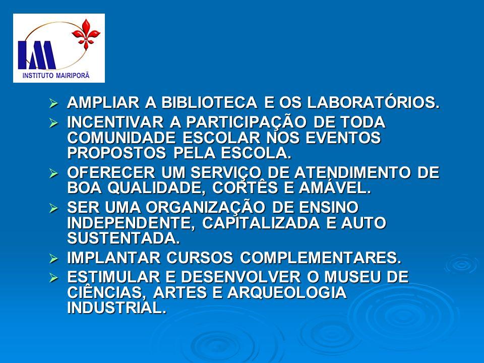 AMPLIAR A BIBLIOTECA E OS LABORATÓRIOS.