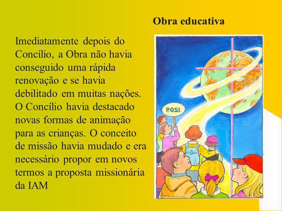 Obra educativaImediatamente depois do Concílio, a Obra não havia. conseguido uma rápida renovação e se havia debilitado em muitas nações.