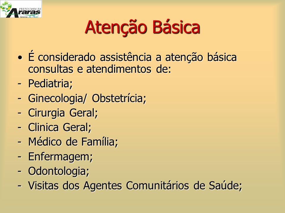 Atenção Básica É considerado assistência a atenção básica consultas e atendimentos de: Pediatria; Ginecologia/ Obstetrícia;