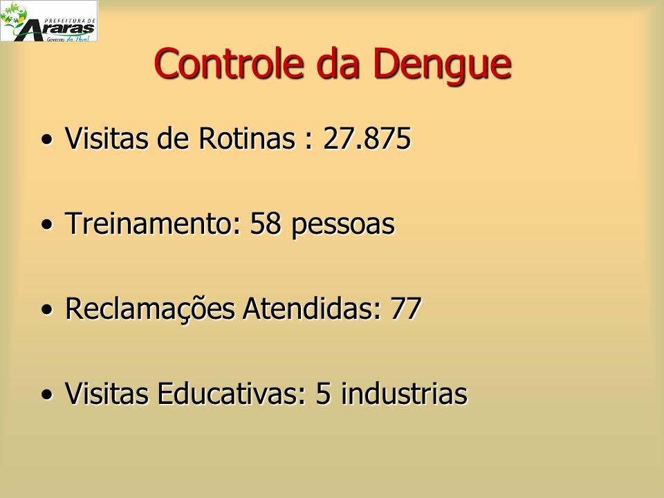 Controle da Dengue Visitas de Rotinas : 27.875 Treinamento: 58 pessoas