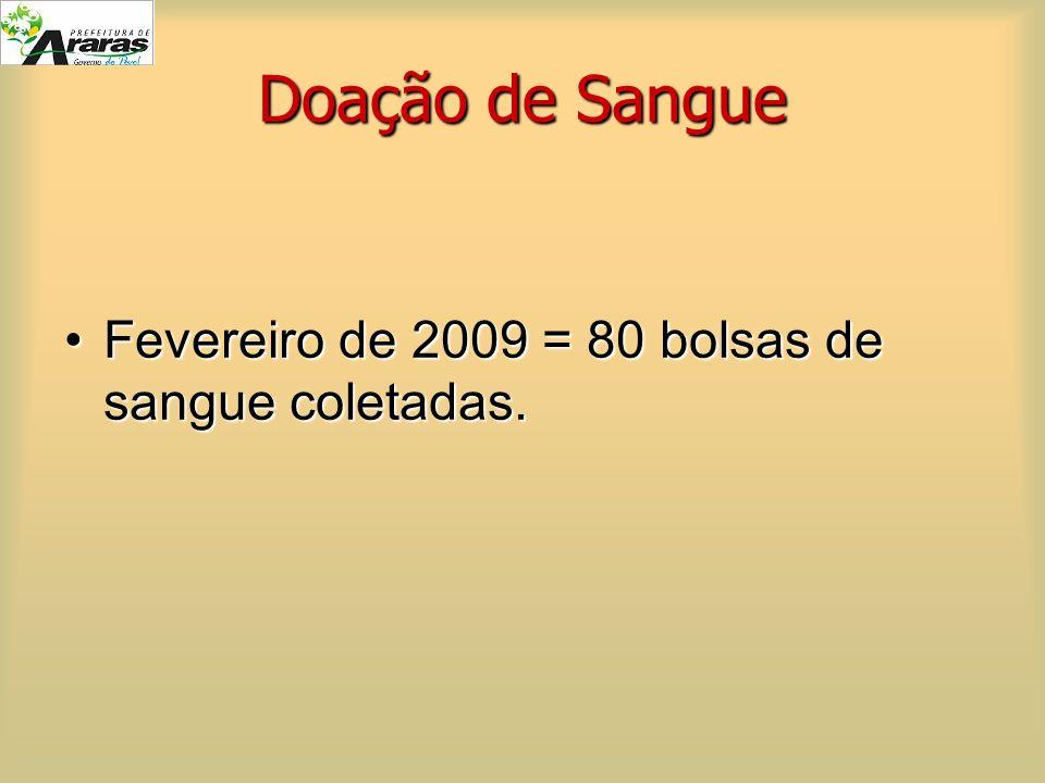 Doação de Sangue Fevereiro de 2009 = 80 bolsas de sangue coletadas.