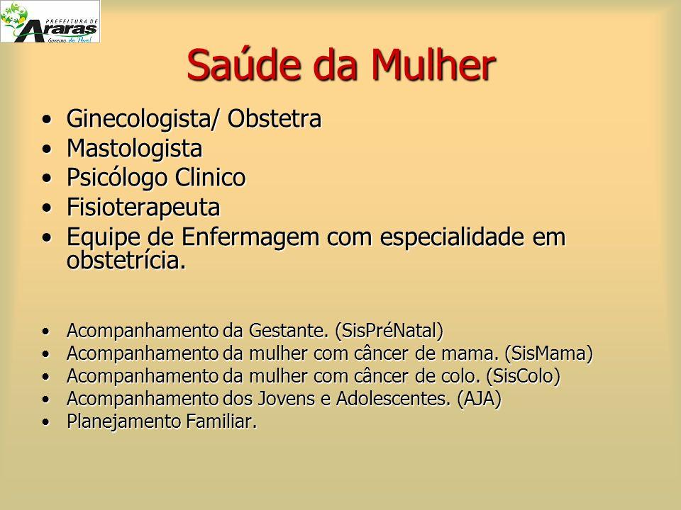 Saúde da Mulher Ginecologista/ Obstetra Mastologista Psicólogo Clinico