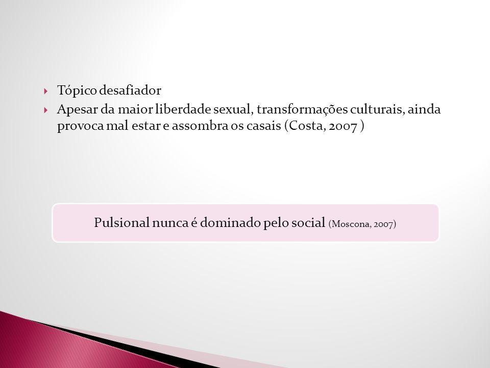 Pulsional nunca é dominado pelo social (Moscona, 2007)