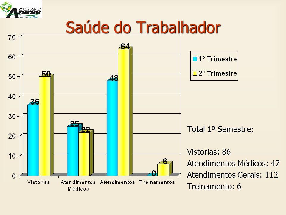Saúde do Trabalhador Total 1º Semestre: Vistorias: 86