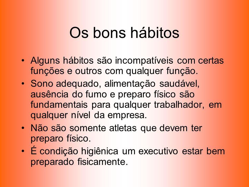 Os bons hábitos Alguns hábitos são incompatíveis com certas funções e outros com qualquer função.