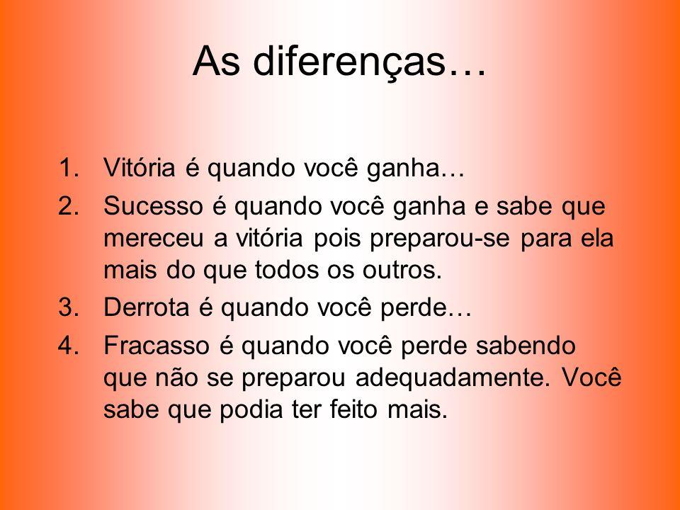 As diferenças… Vitória é quando você ganha…