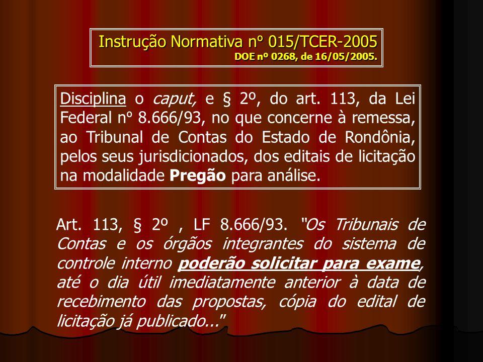 Instrução Normativa nº 015/TCER-2005