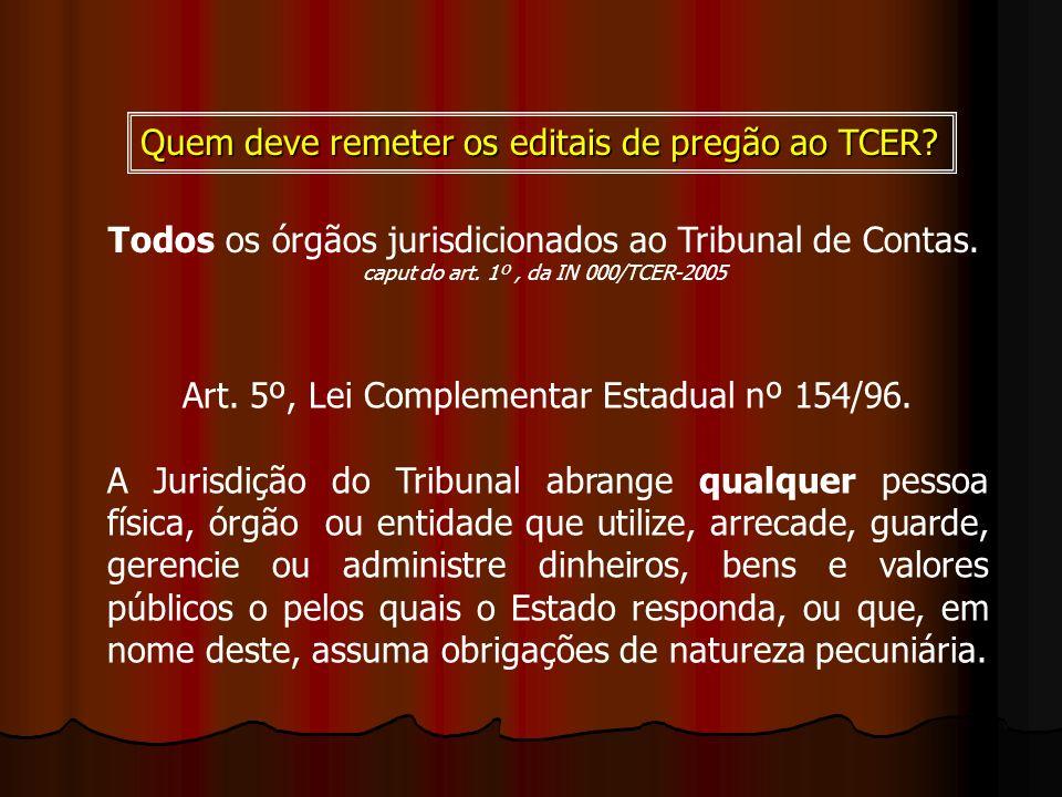 Quem deve remeter os editais de pregão ao TCER