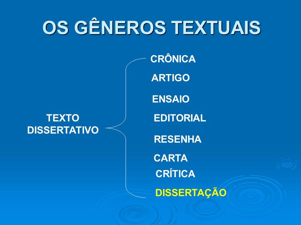 OS GÊNEROS TEXTUAIS CRÔNICA ARTIGO ENSAIO TEXTO DISSERTATIVO EDITORIAL
