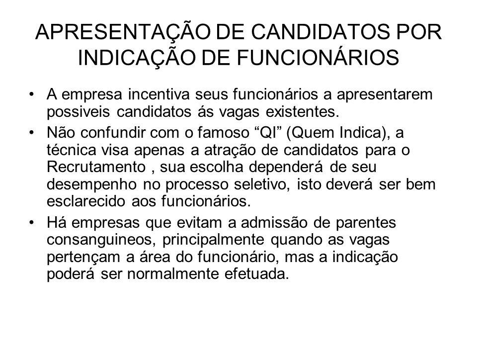 APRESENTAÇÃO DE CANDIDATOS POR INDICAÇÃO DE FUNCIONÁRIOS