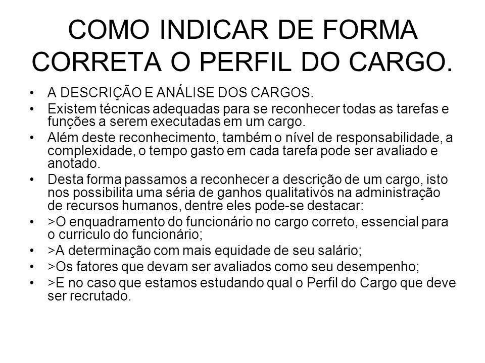 COMO INDICAR DE FORMA CORRETA O PERFIL DO CARGO.