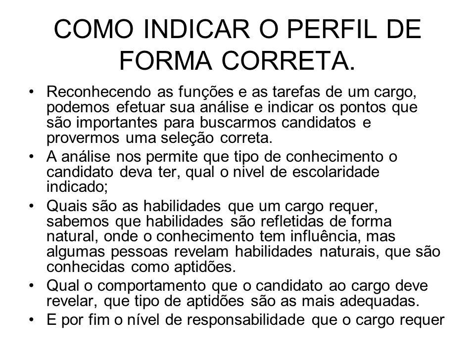 COMO INDICAR O PERFIL DE FORMA CORRETA.