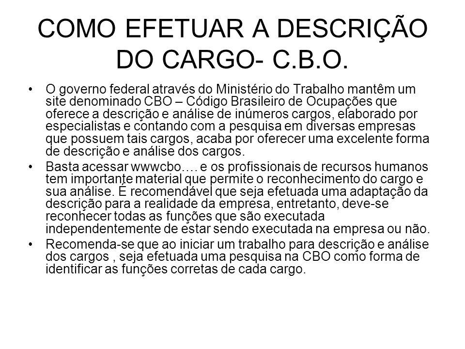 COMO EFETUAR A DESCRIÇÃO DO CARGO- C.B.O.