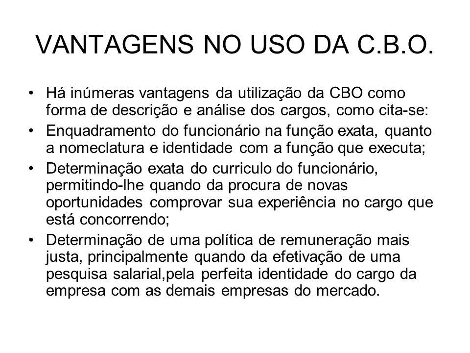 VANTAGENS NO USO DA C.B.O. Há inúmeras vantagens da utilização da CBO como forma de descrição e análise dos cargos, como cita-se: