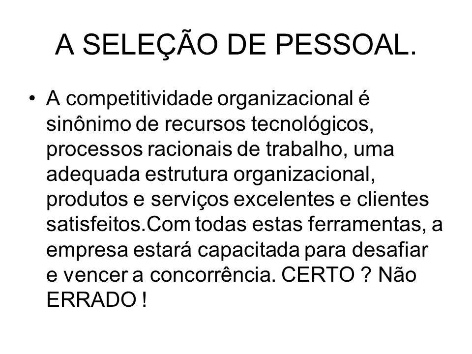 A SELEÇÃO DE PESSOAL.