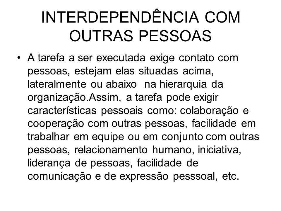 INTERDEPENDÊNCIA COM OUTRAS PESSOAS