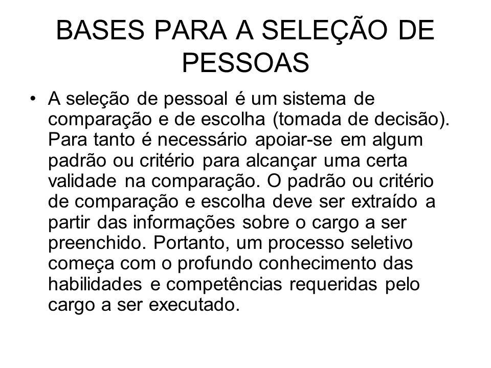 BASES PARA A SELEÇÃO DE PESSOAS