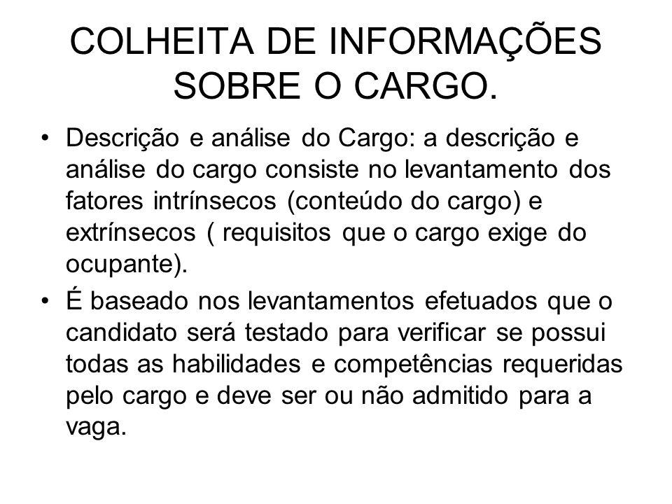 COLHEITA DE INFORMAÇÕES SOBRE O CARGO.