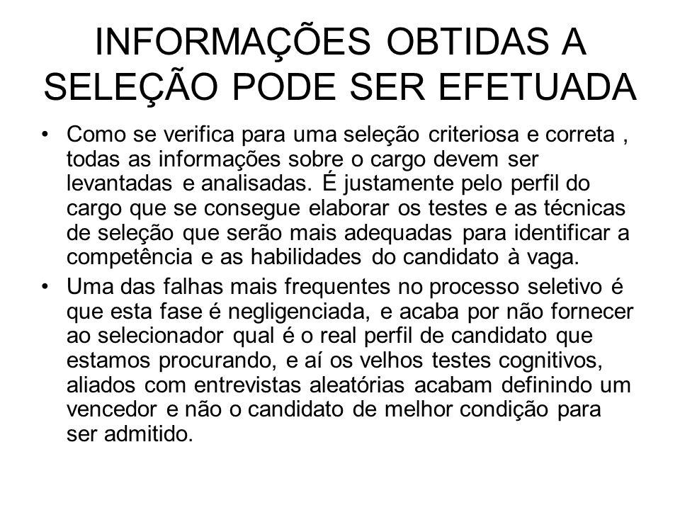 INFORMAÇÕES OBTIDAS A SELEÇÃO PODE SER EFETUADA