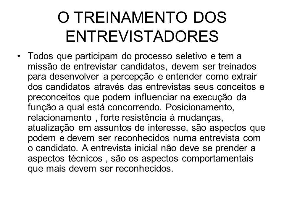 O TREINAMENTO DOS ENTREVISTADORES