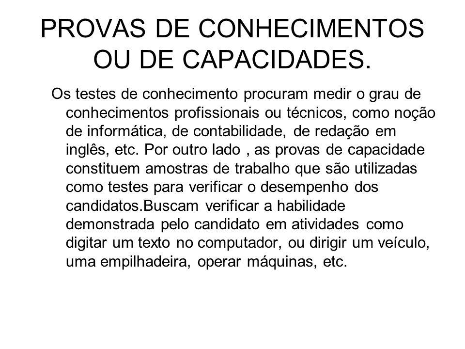 PROVAS DE CONHECIMENTOS OU DE CAPACIDADES.