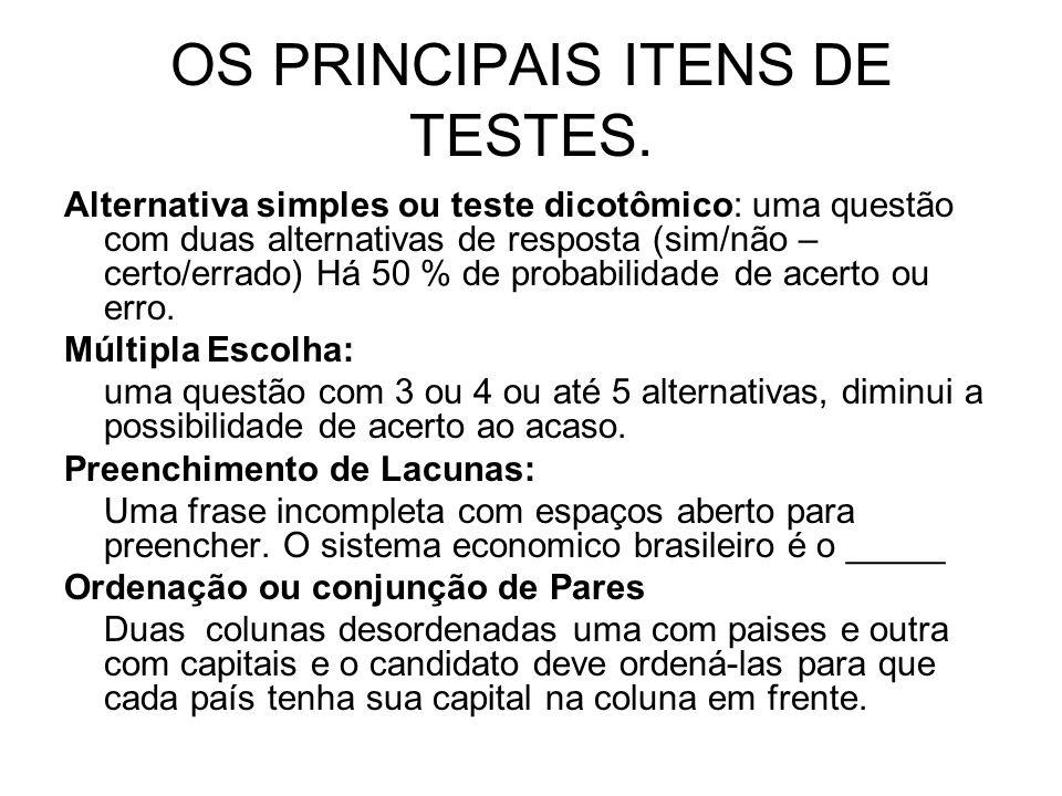OS PRINCIPAIS ITENS DE TESTES.