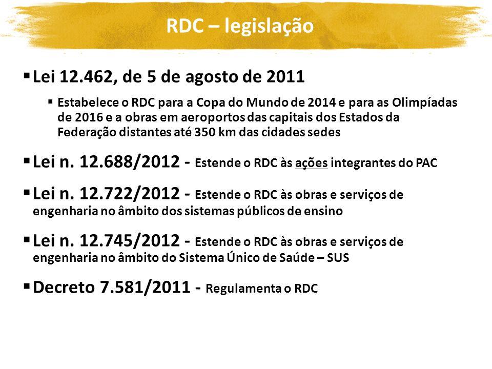 RDC – legislação Lei 12.462, de 5 de agosto de 2011