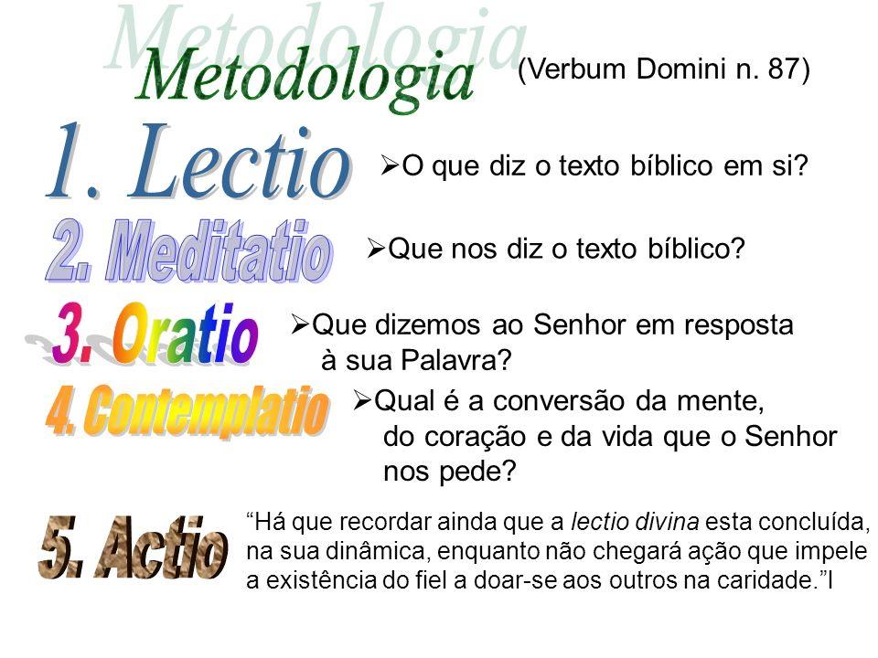 Metodologia 1. Lectio 2. Meditatio 3. Oratio 4. Contemplatio 5. Actio
