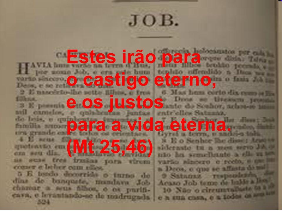 Estes irão para o castigo eterno, e os justos para a vida eterna. (Mt 25,46)