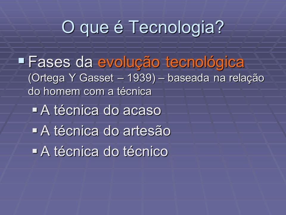 O que é Tecnologia Fases da evolução tecnológica (Ortega Y Gasset – 1939) – baseada na relação do homem com a técnica.