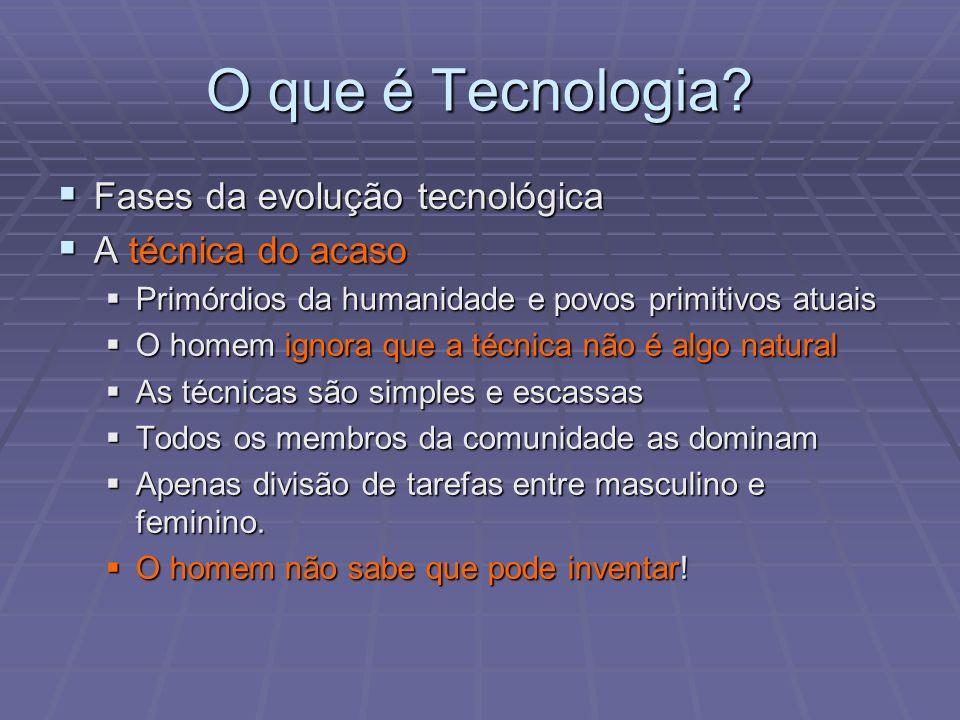 O que é Tecnologia Fases da evolução tecnológica A técnica do acaso
