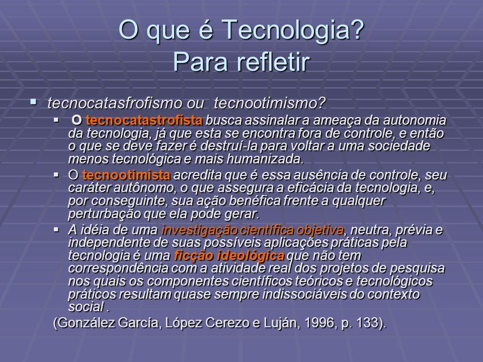 O que é Tecnologia Para refletir