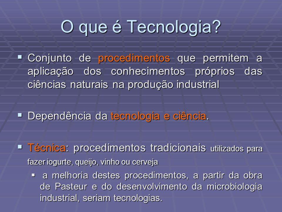 O que é Tecnologia Conjunto de procedimentos que permitem a aplicação dos conhecimentos próprios das ciências naturais na produção industrial.