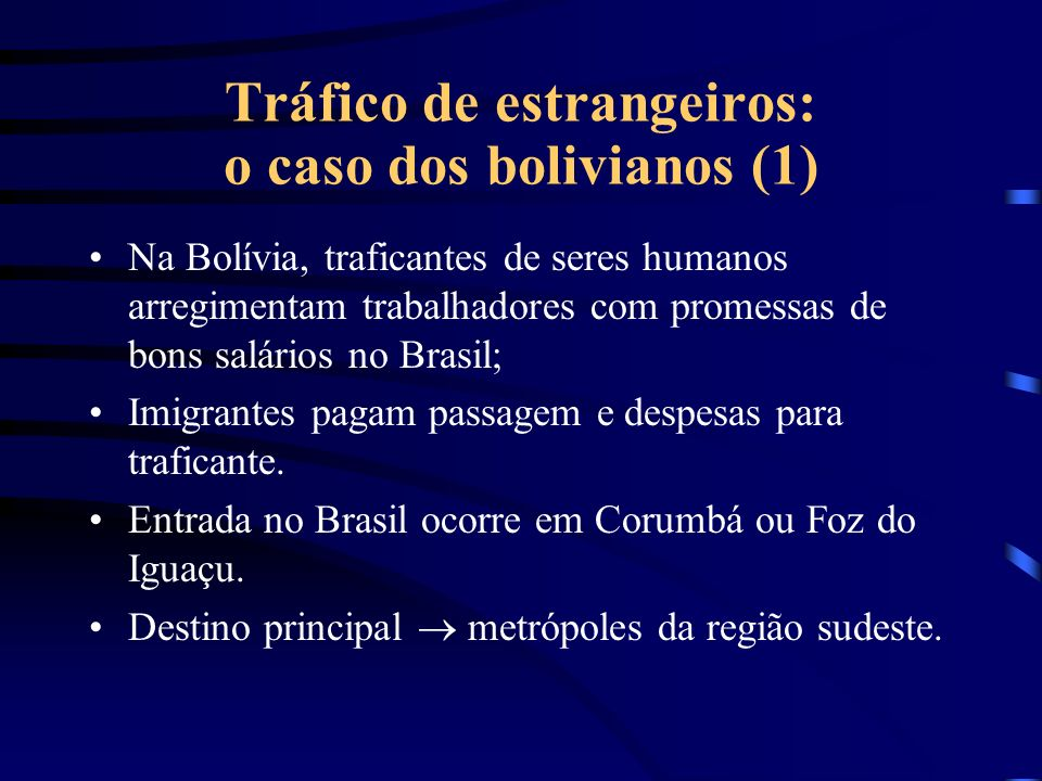 Tráfico de estrangeiros: o caso dos bolivianos (1)