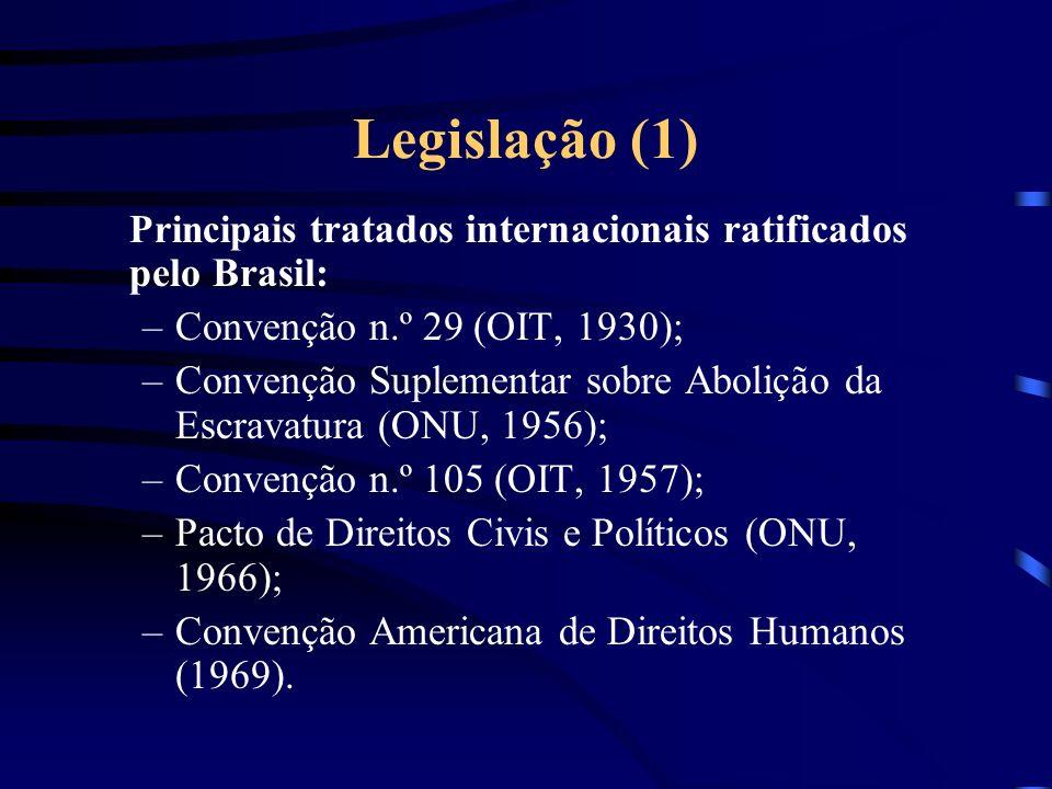 Legislação (1) Convenção n.º 29 (OIT, 1930);