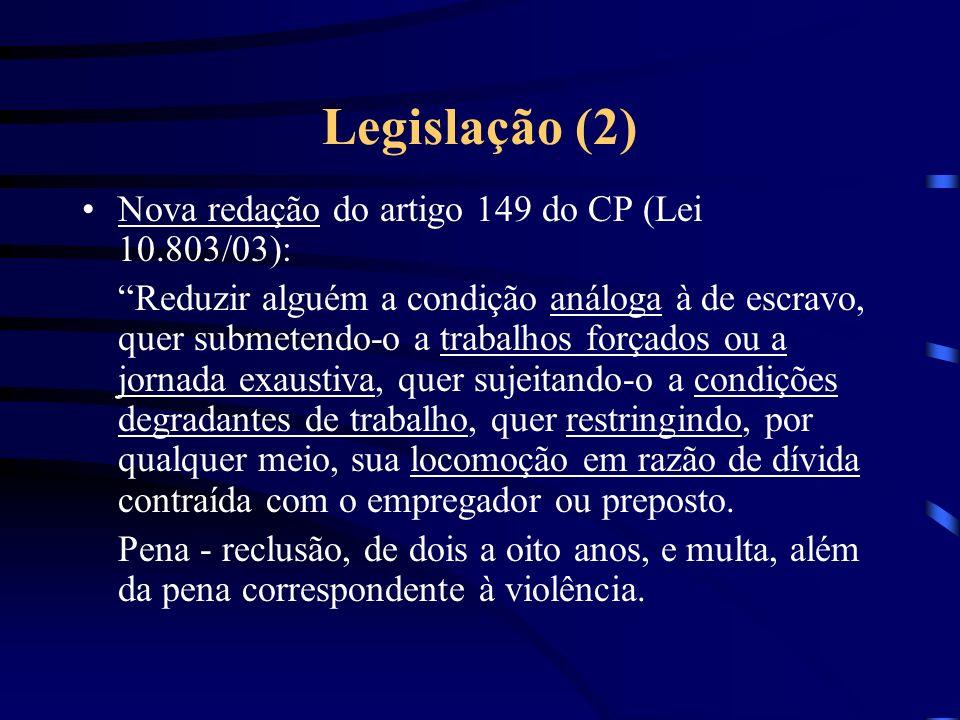 Legislação (2) Nova redação do artigo 149 do CP (Lei 10.803/03):