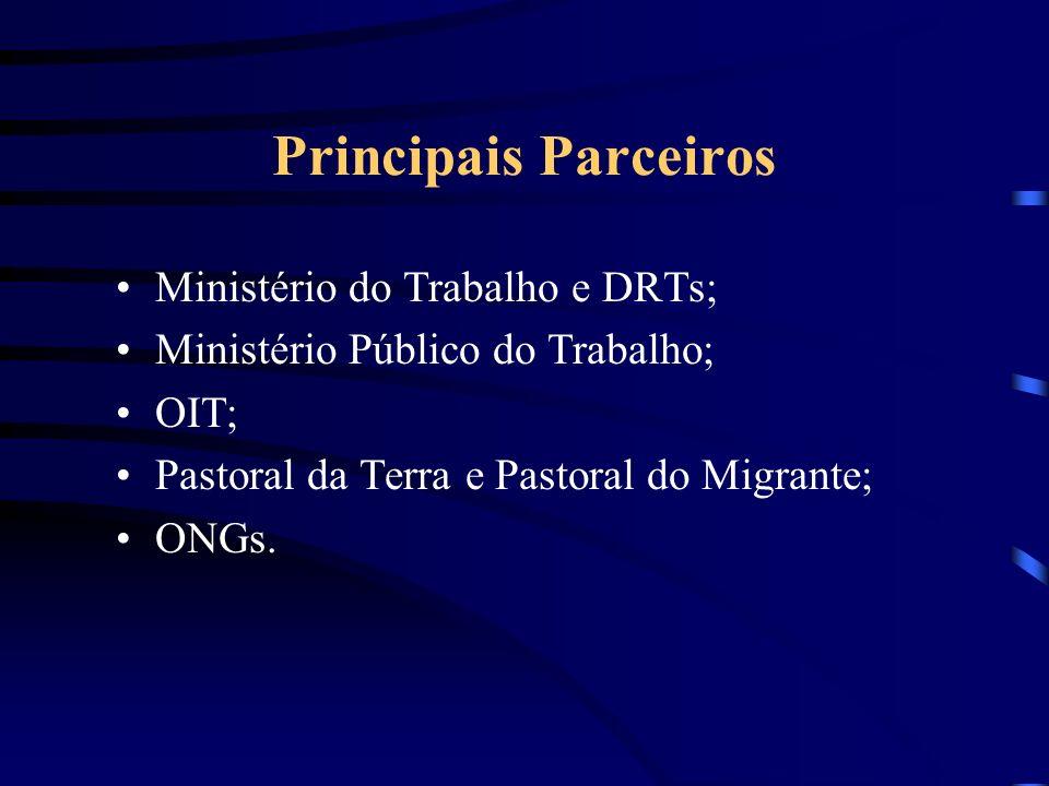 Principais Parceiros Ministério do Trabalho e DRTs;
