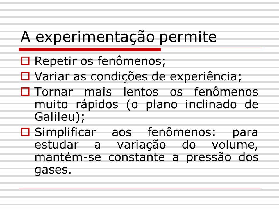 A experimentação permite