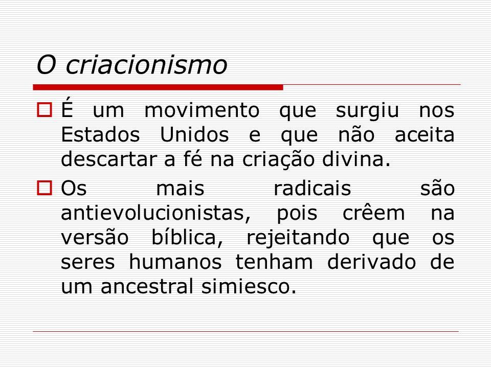 O criacionismo É um movimento que surgiu nos Estados Unidos e que não aceita descartar a fé na criação divina.