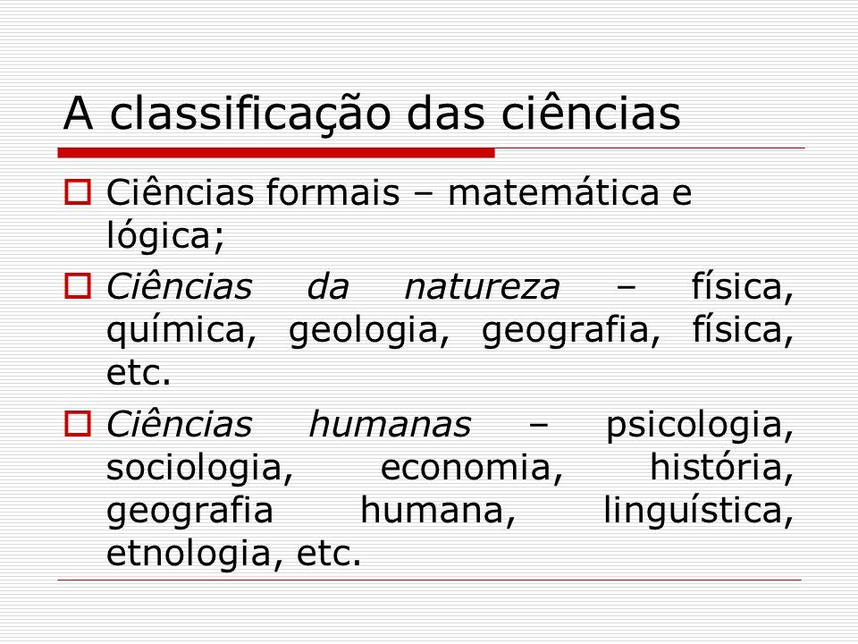 A classificação das ciências