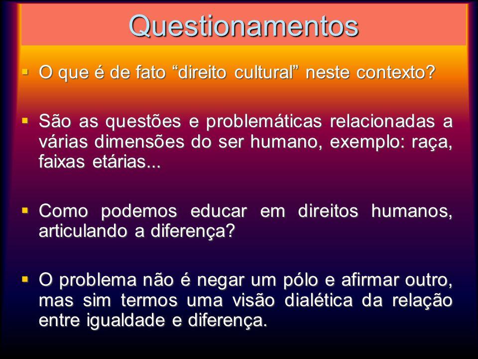 Questionamentos O que é de fato direito cultural neste contexto