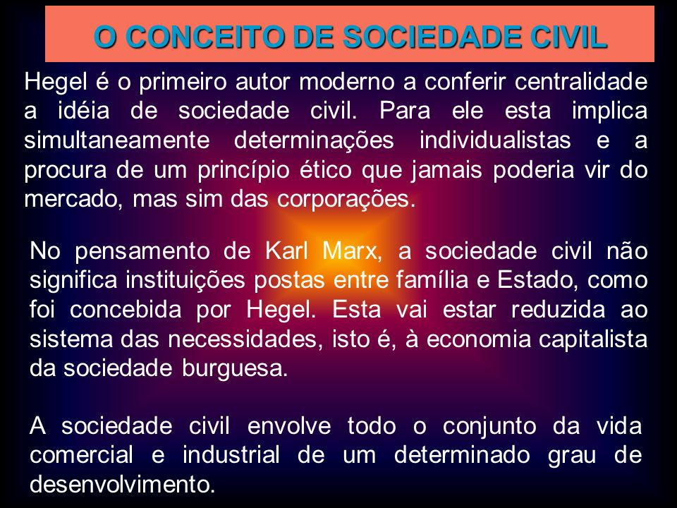 O CONCEITO DE SOCIEDADE CIVIL