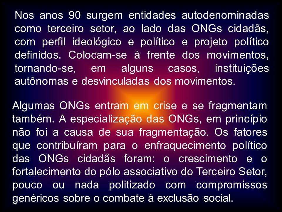 Nos anos 90 surgem entidades autodenominadas como terceiro setor, ao lado das ONGs cidadãs, com perfil ideológico e político e projeto político definidos. Colocam-se à frente dos movimentos, tornando-se, em alguns casos, instituições autônomas e desvinculadas dos movimentos.