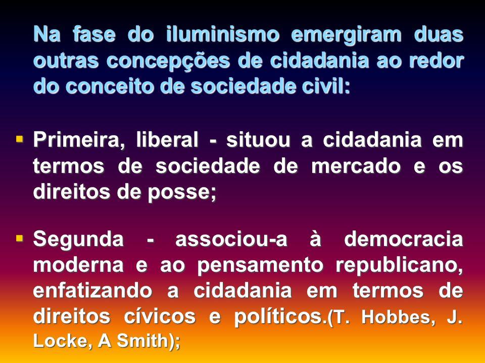 Na fase do iluminismo emergiram duas outras concepções de cidadania ao redor do conceito de sociedade civil:
