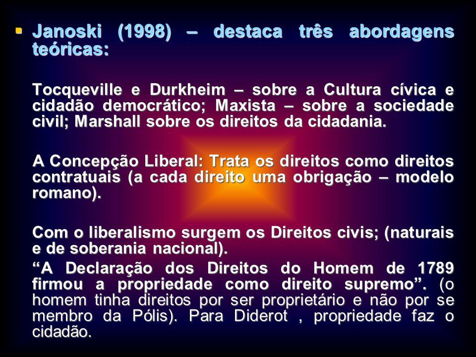 Janoski (1998) – destaca três abordagens teóricas:
