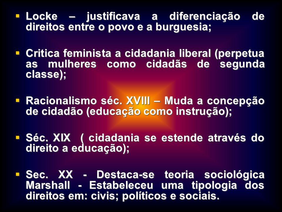 Locke – justificava a diferenciação de direitos entre o povo e a burguesia;