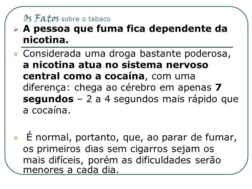 Os Fatos sobre o tabaco A pessoa que fuma fica dependente da nicotina.