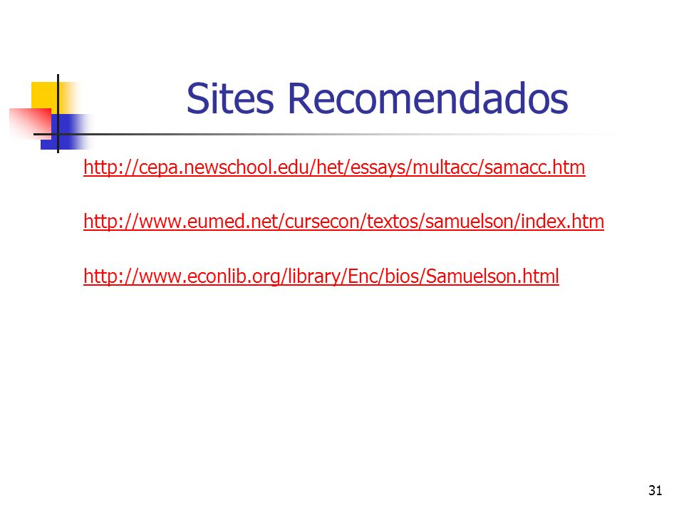 Sites Recomendados http://cepa.newschool.edu/het/essays/multacc/samacc.htm. http://www.eumed.net/cursecon/textos/samuelson/index.htm.