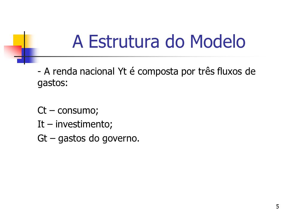 A Estrutura do Modelo - A renda nacional Yt é composta por três fluxos de gastos: Ct – consumo; It – investimento;